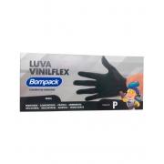LUVA VINILFLEX (P) SEM PÓ PRETA C/100UNID - BOMPACK