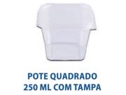 POTE QUADRADO 250ML COM TAMPA - FREEZER E MICROONDAS  - com 20 unidades