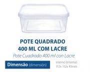 POTE QUADRADO COM LACRE 400 ML - FREEZER E MICROONDAS - com 10 unidades - PRAFESTA