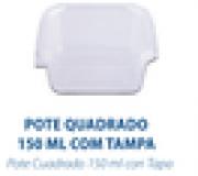 POTE QUADRADO COM TAMPA 150ML - FREEZER E MICROONDAS - com 300 unidades - PRAFESTA