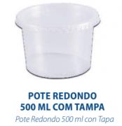 POTE REDONDO 500ML C/TAMPA - FREEZER E MICROONDAS  - com 24 unidades