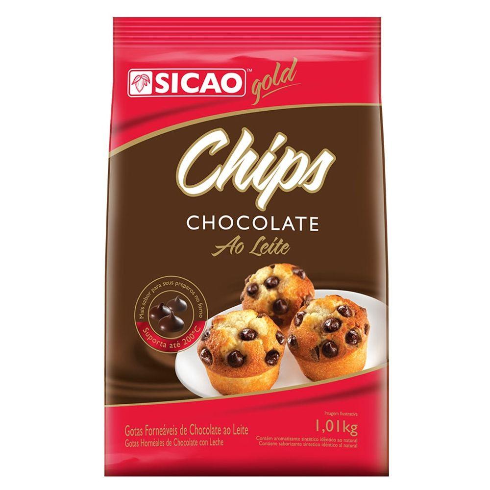 CHIPS FORNEAVEIS CHOCOLATE AO LEITE 1,01KG - SICAO  - Santa Bella
