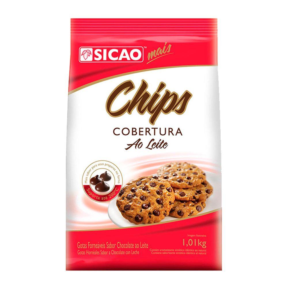 CHIPS FORNEAVEIS COBERTURA AO LEITE 1,010KG - SICAO  - Santa Bella