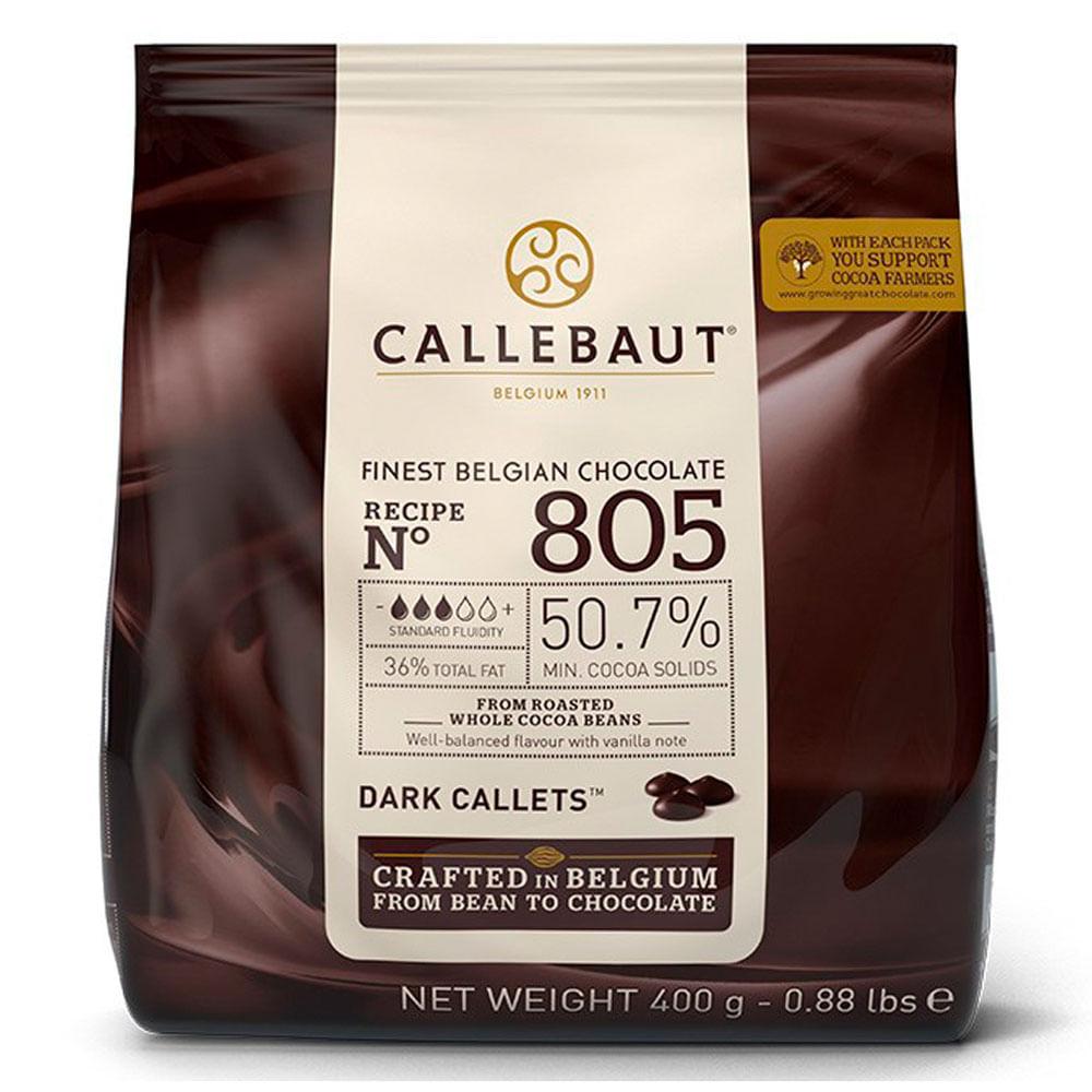 CHOCOLATE AMARGO 50,7% CACAU (805) EM GOTAS 400G- CALLEBAUT  - Santa Bella