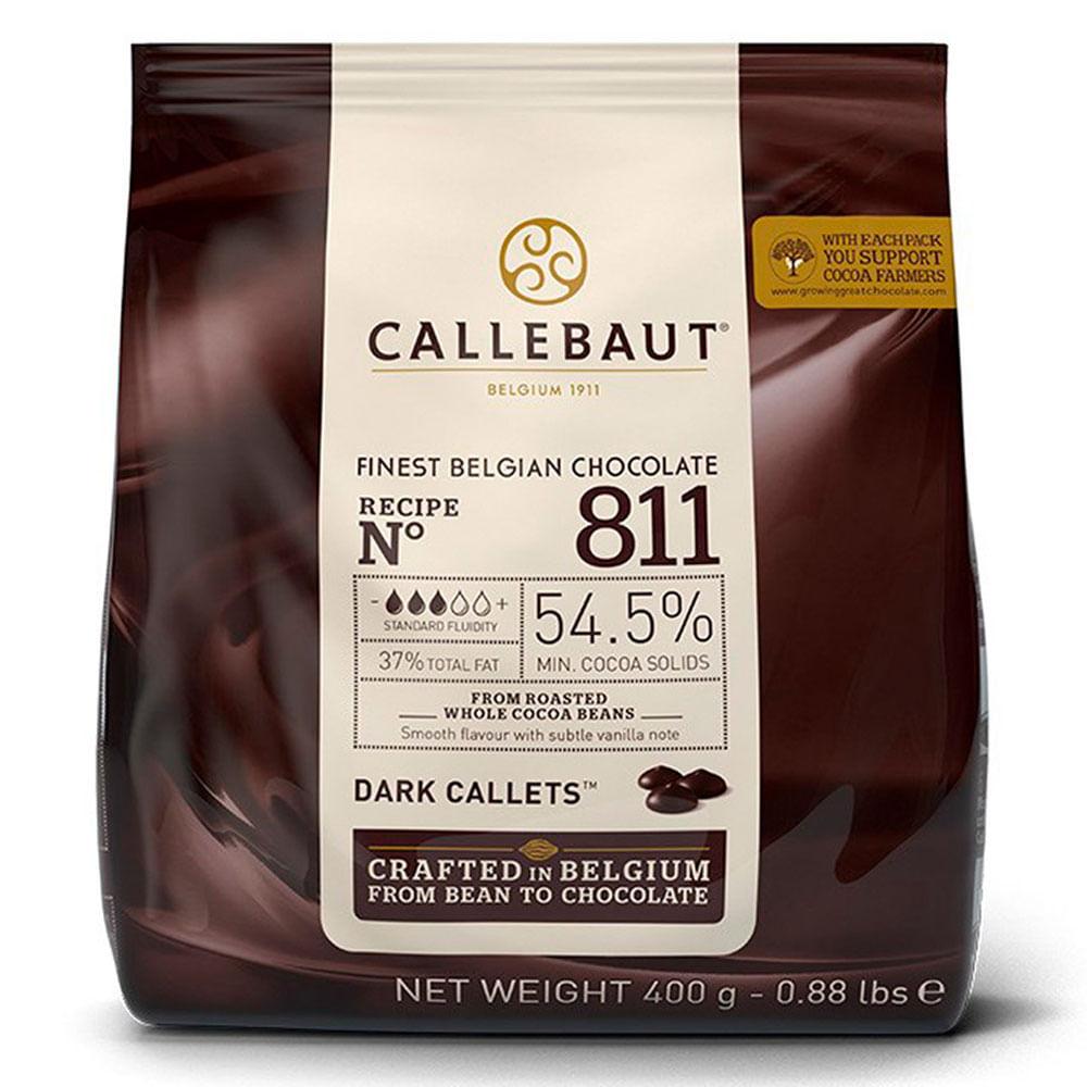 CHOCOLATE AMARGO 54,5% CACAU (811) EM GOTAS 400G - CALLEBAUT  - Santa Bella
