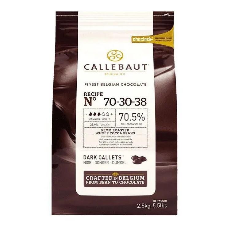 CHOCOLATE AMARGO 70,5% (70-30) EM GOTAS 2,5KG - CALLEBAUT  - Santa Bella