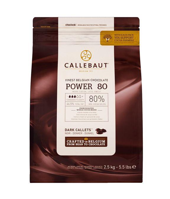 CHOCOLATE AMARGO 80% CACAU (POWER 80) 2,5 KG - CALLEBAUT  - Santa Bella