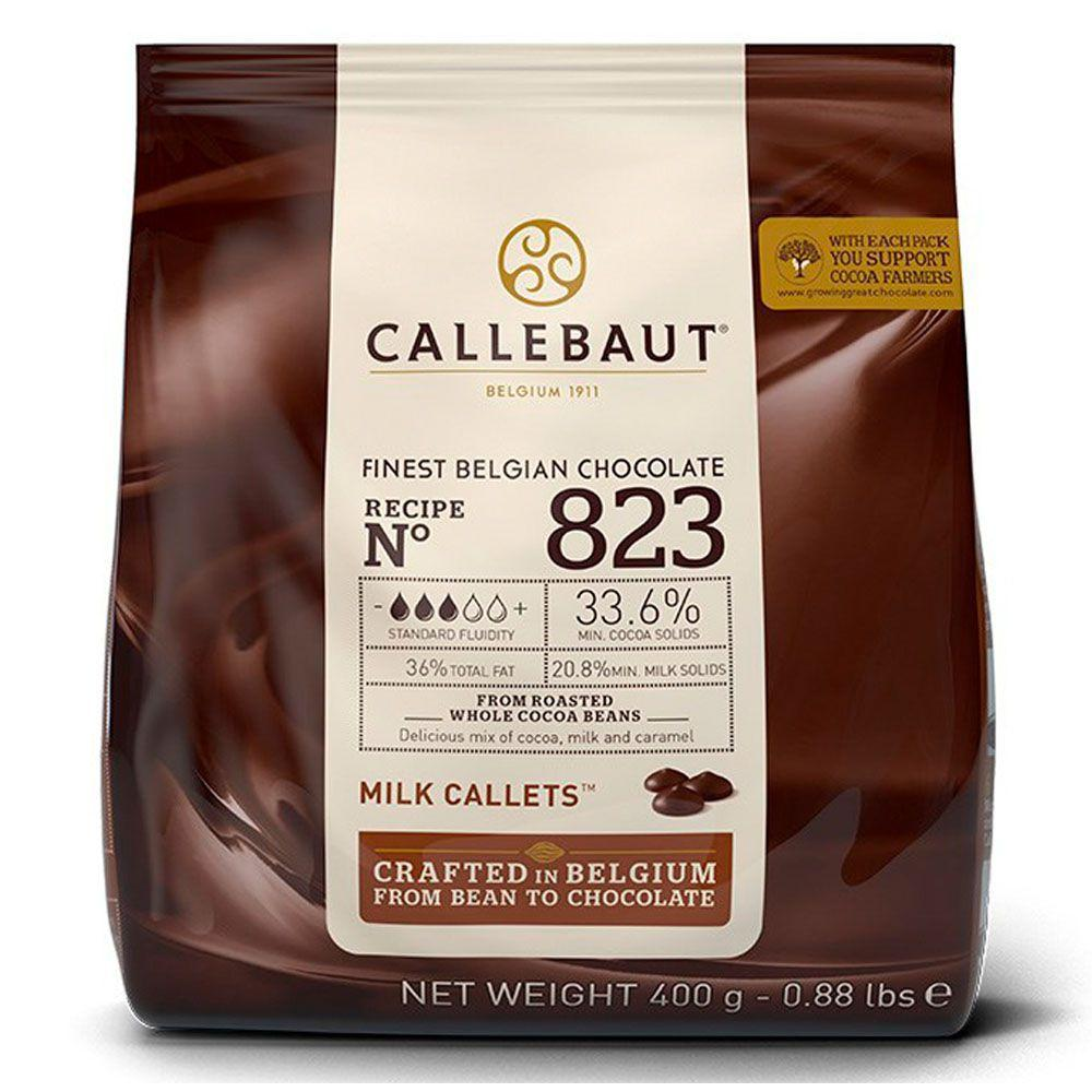 CHOCOLATE AO LEITE 33,6% CACAU (823) EM GOTAS 400G - CALLEBAUT  - Santa Bella