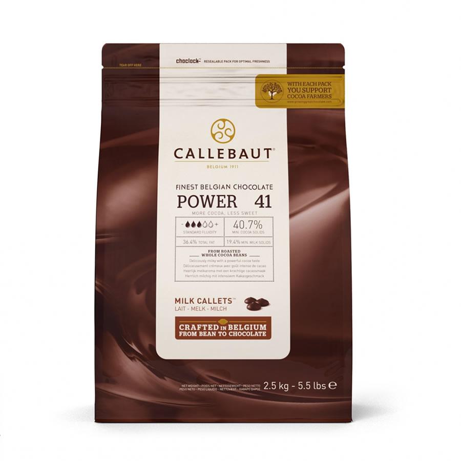 CHOCOLATE AO LEITE 40,7% CACAU (POWER 41) 2,5 KG - CALLEBAUT  - Santa Bella