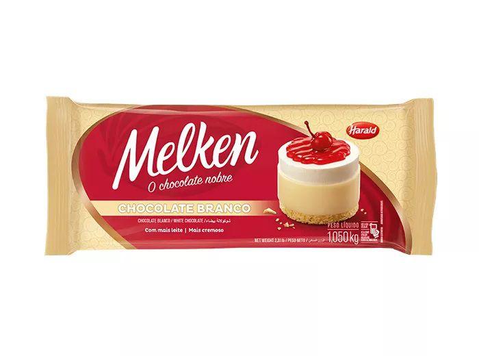 Chocolate Em Barra Melken Branco 1,050 Kg - Harald  - Santa Bella
