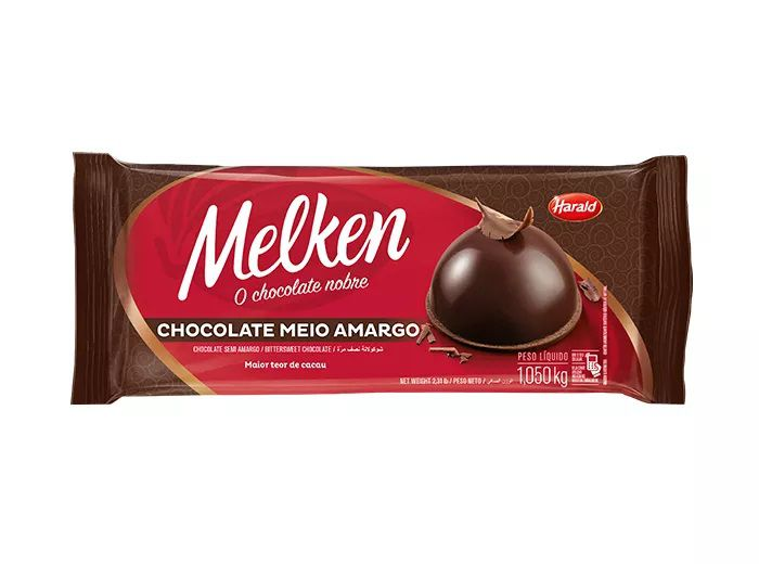 Chocolate Em Barra Melken Meio Amargo 1,050 Kg - Harald  - Santa Bella