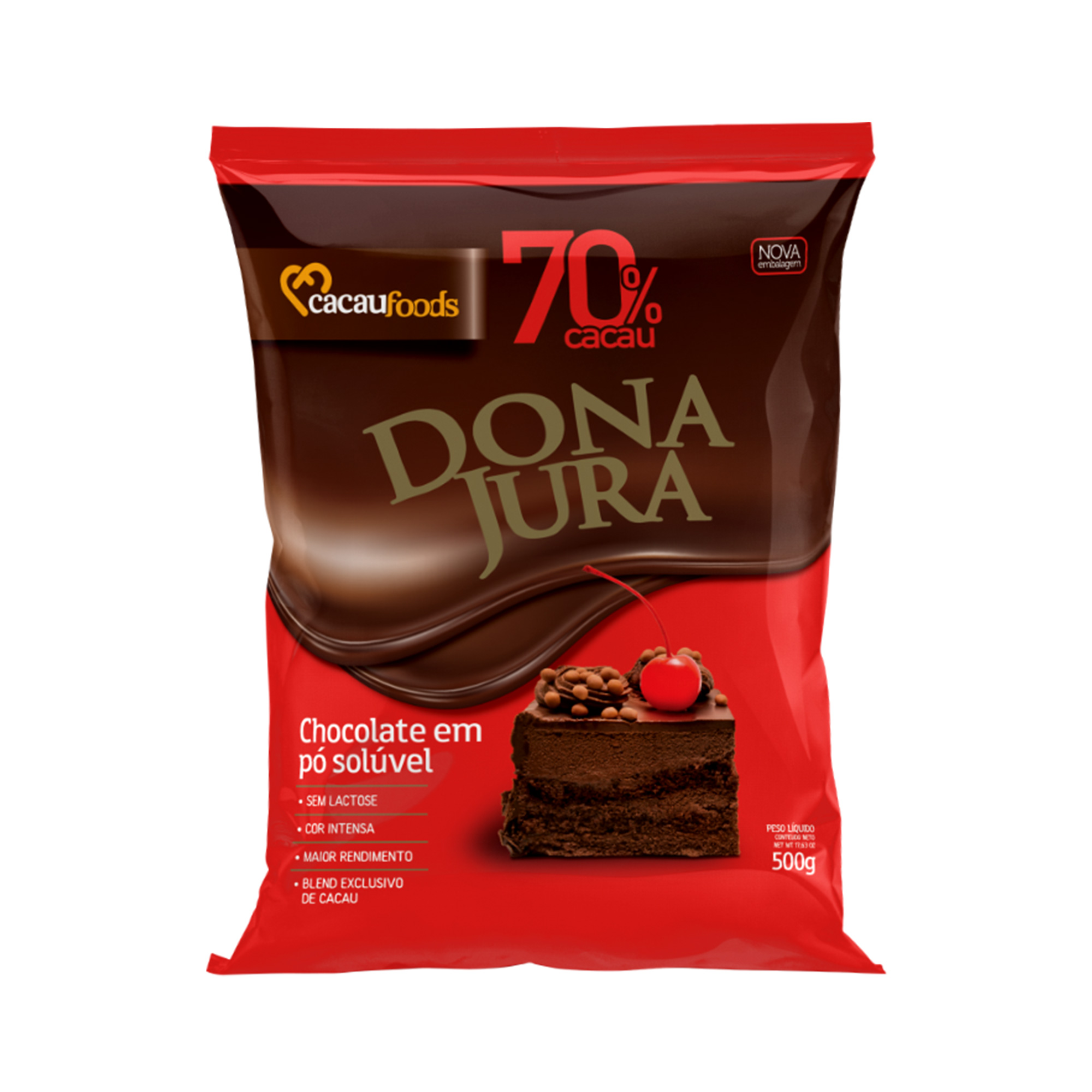 CHOCOLATE EM PO DONA JURA 70% 500G  - Santa Bella