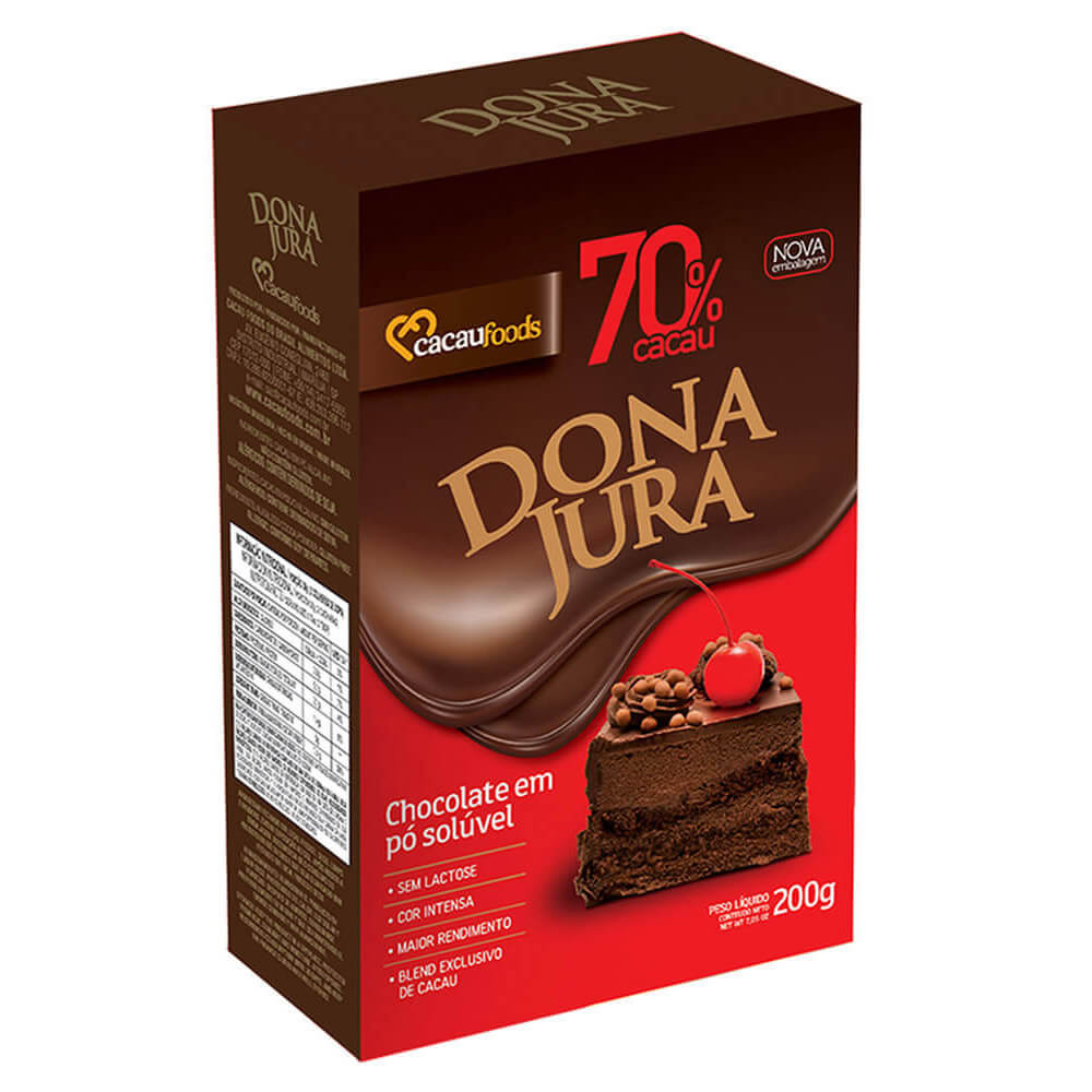 CHOCOLATE EM PÓ SOLÚVEL 70% 200GR - DONA JURA  - Santa Bella