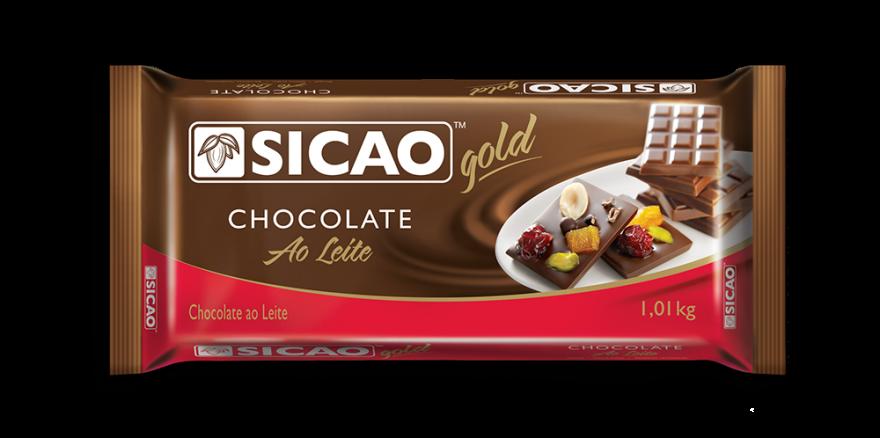 CHOCOLATE SICAO GOLD AO LEITE EM BARRA 1,01KG  - Santa Bella