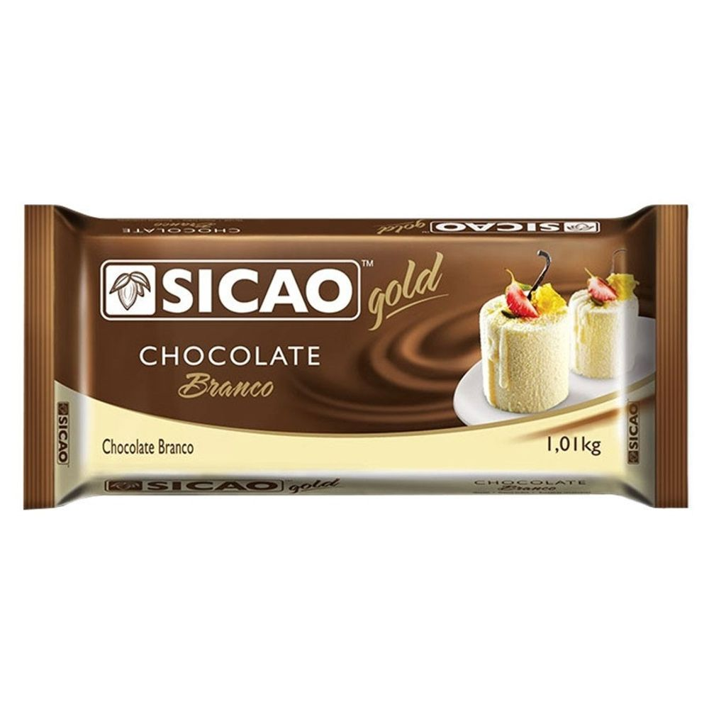CHOCOLATE SICAO GOLD BRANCO EM BARRA 1,01KG  - Santa Bella
