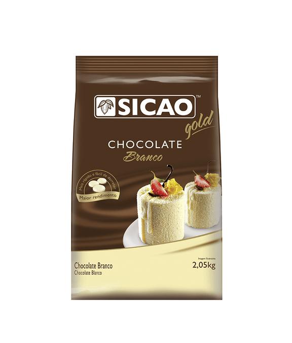 CHOCOLATE SICAO GOLD BRANCO EM GOTAS 2,05KG  - Santa Bella