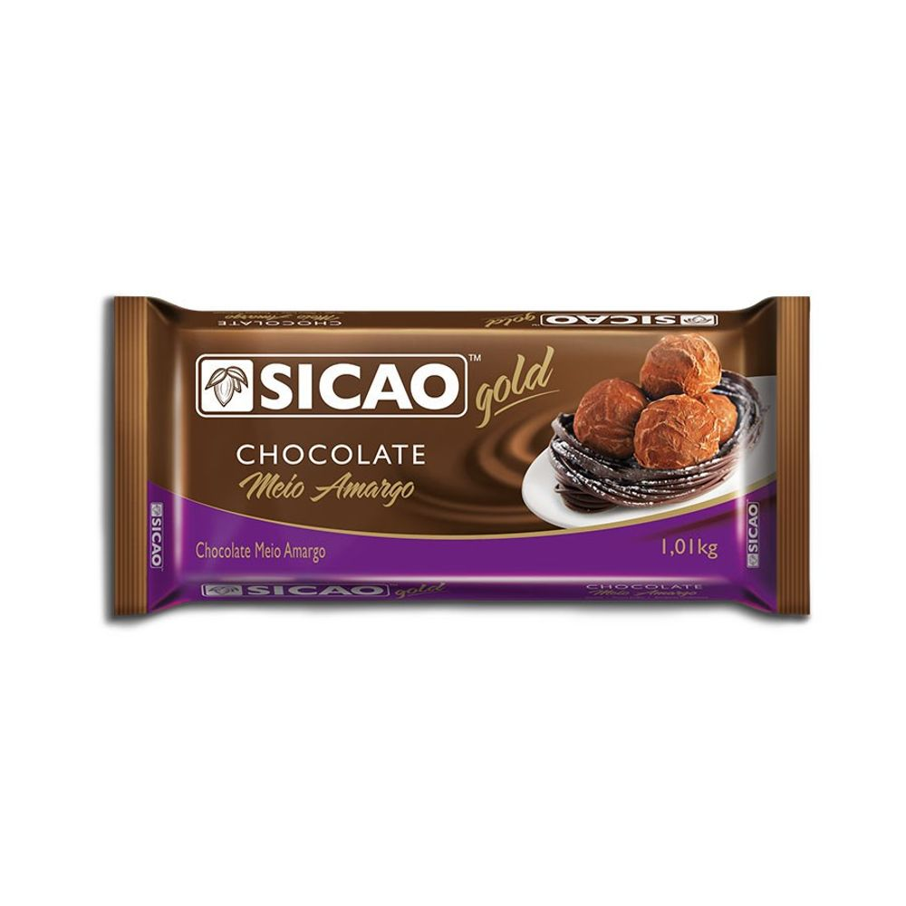CHOCOLATE SICAO GOLD MEIO AMARGO EM BARRA 1,01KG  - Santa Bella
