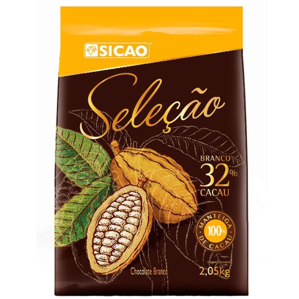CHOCOLATE SICAO SELEÇÃO BRANCO 32% EM GOTAS 2,05KG  - Santa Bella