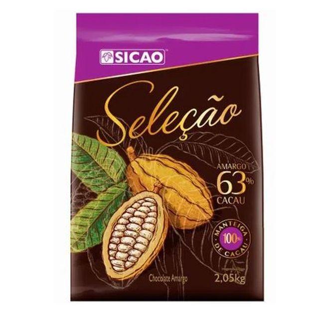 CHOCOLATE SICAO SELEÇÃO MEIO AMARGO 63% EM GOTAS 2,05KG  - Santa Bella