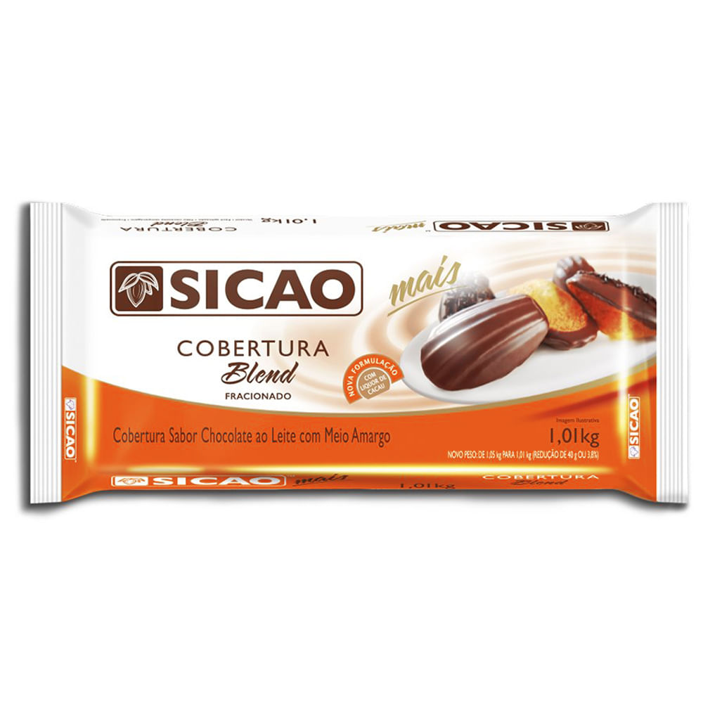 COBERTURA SICAO MAIS BLEND EM BARRA 1,01KG  - Santa Bella