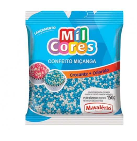 CONFEITO MIÇANGA BRANCA E AZUL N°0 MIL CORES 150G - MAVALÉRIO  - Santa Bella