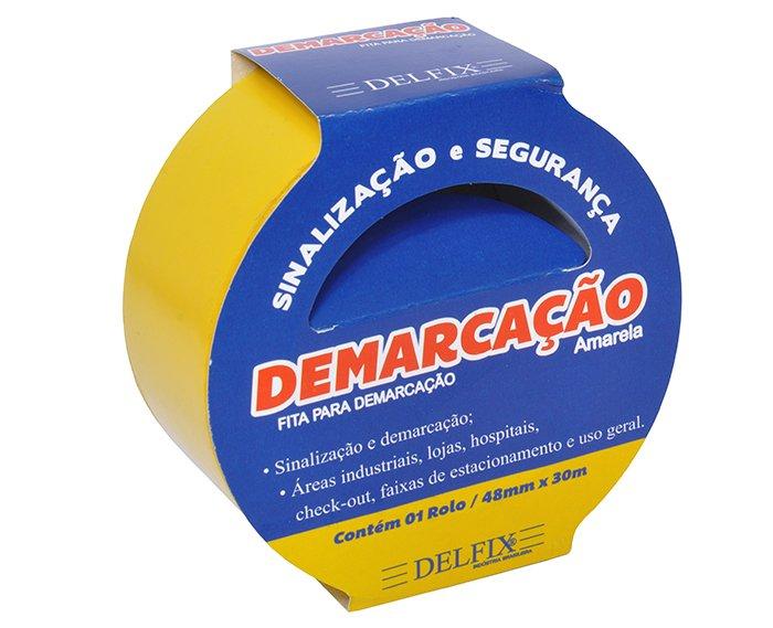FITA DEMARCAÇAO DE SOLO 48MMX30M AMARELA C/2RL - DELFIX  - Santa Bella