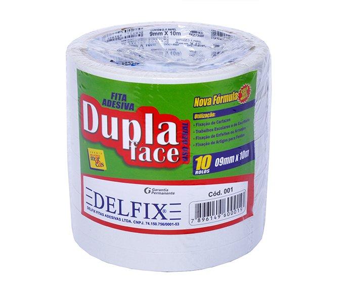 FITA DUPLA FACE 09MM X 10M C/10RL - DELFIX  - Santa Bella