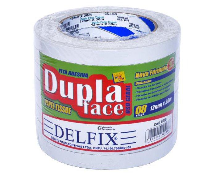 FITA DUPLA FACE TISSUE 12MM X 30M C/8RL - DELFIX  - Santa Bella