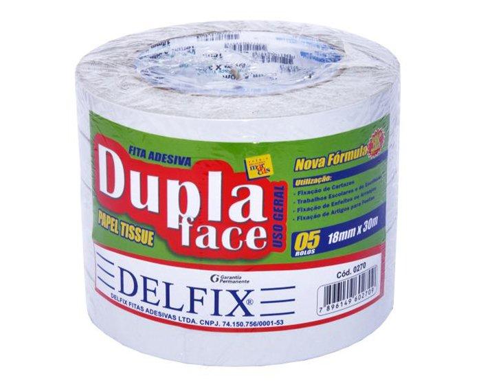 FITA DUPLA FACE TISSUE 18MM X 30M C/5RL - DELFIX  - Santa Bella