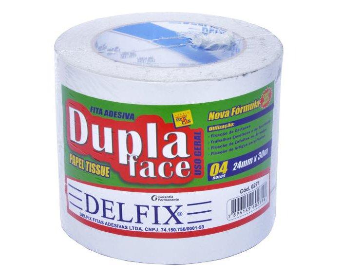 FITA DUPLA FACE TISSUE 24MM X 30M C/4RL - DELFIX  - Santa Bella