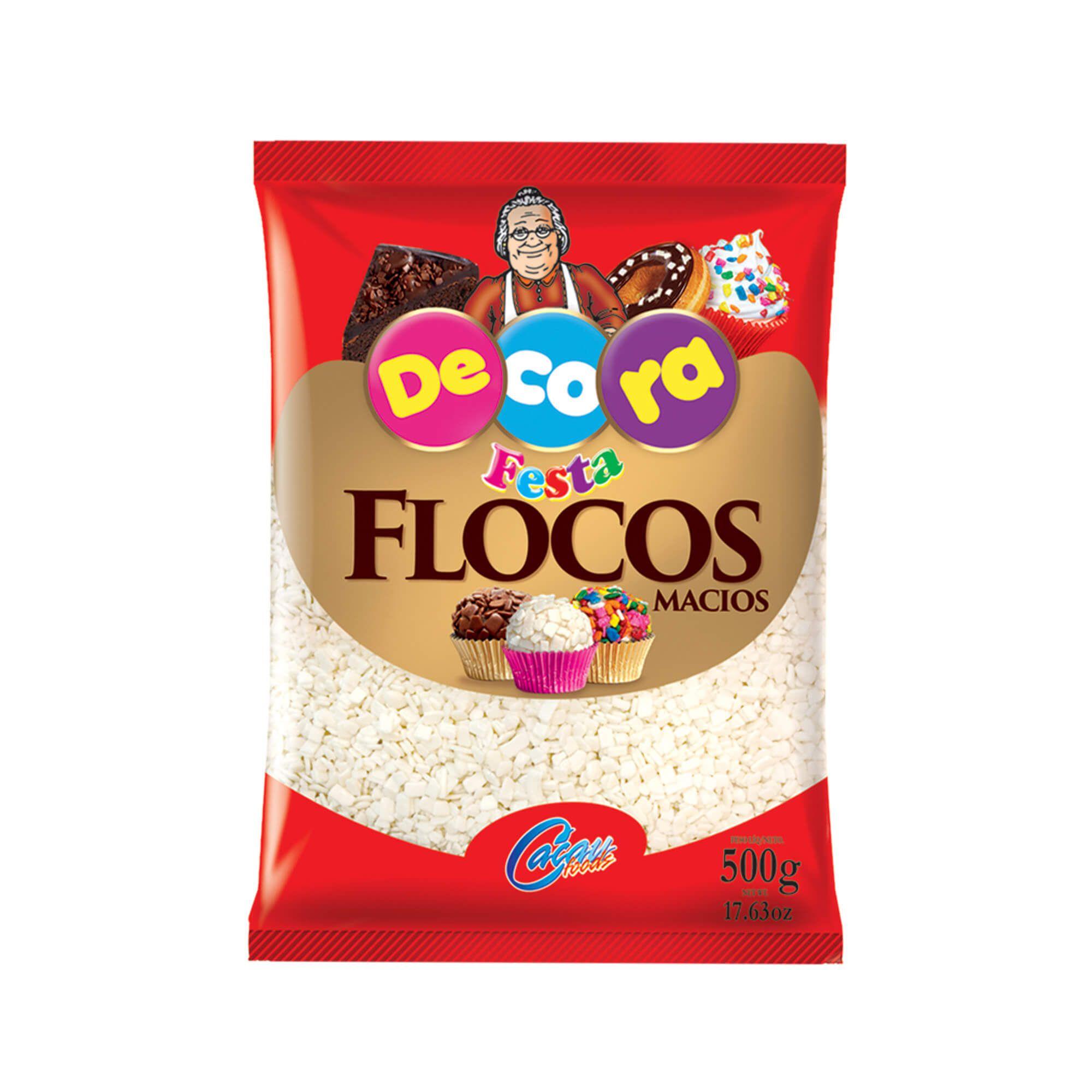 FLOCOS  MACIO SABOR CHOCOLATE BRANCO DECORA 500G  - Santa Bella