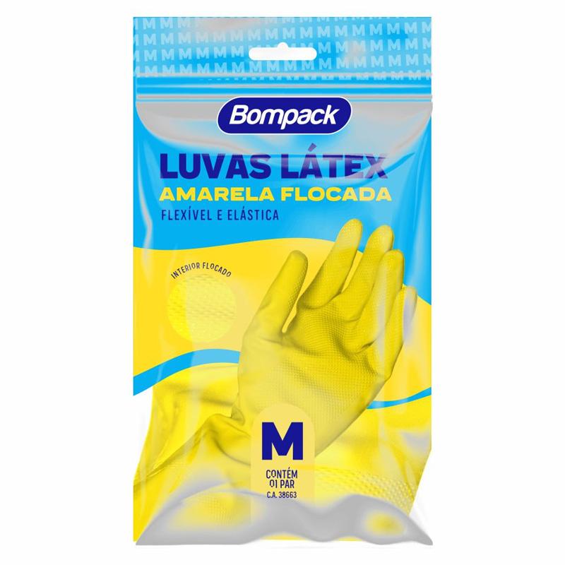 LUVA DE LIMPEZA (M) LÁTEX AMARELA -  01 PAR - BOMPACK  - Santa Bella