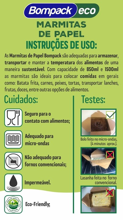 MARMITA DE PAPEL BOMPACK ECO 850ML C/20 - Embrast  - Santa Bella