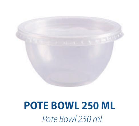 Pote Bowl 250ml C/ Sobretampa - - Freezer e Microondas  - Com 20 Unidades  - Santa Bella