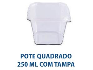 POTE QUADRADO 250ML COM TAMPA - FREEZER E MICROONDAS  - com 20 unidades  - Santa Bella