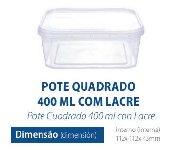 POTE QUADRADO COM LACRE 400 ML - FREEZER E MICROONDAS - com 10 unidades - PRAFESTA  - Santa Bella