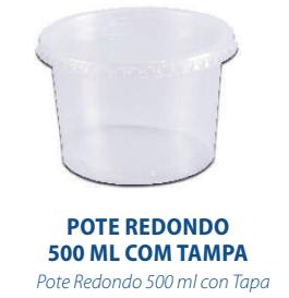 POTE REDONDO 500ML C/TAMPA - FREEZER E MICROONDAS  - com 24 unidades  - Santa Bella