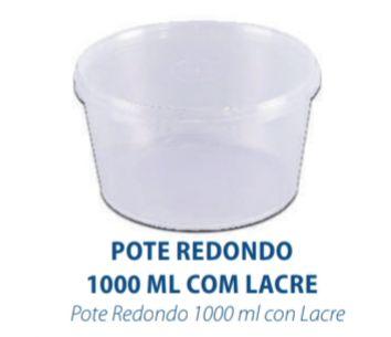 POTE REDONDO COM LACRE 1000ML - FREEZER E MICROONDAS - com 10 unidades - PRAFESTA  - Santa Bella