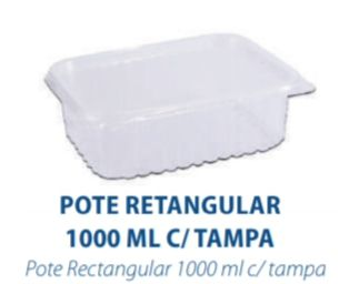POTE RETANGULAR 1000ML C/TAMPA - FREEZER E MICROONDAS  -  com 144 unidades - PRAFESTA  - Santa Bella