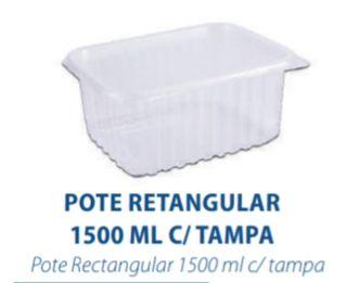 POTE RETANGULAR 1500ML C/TAMPA - FREEZER E MICROONDAS  - com 10 unidades - PRAFESTA  - Santa Bella
