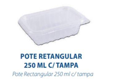 POTE RETANGULAR 250ML C/TAMPA - FREEZER E MICROONDAS  - com 144 unidades - PRAFESTA  - Santa Bella