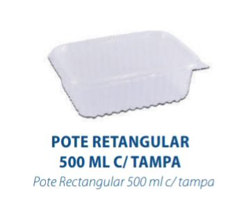 POTE RETANGULAR 500ML C/TAMPA - FREEZER E MICROONDAS  - com 144 unidades  - PRAFESTA  - Santa Bella