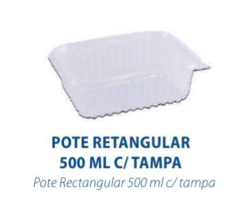 POTE RETANGULAR 500ML C/TAMPA - FREEZER E MICROONDAS  -  com 24 unidades - PRAFESTA  - Santa Bella