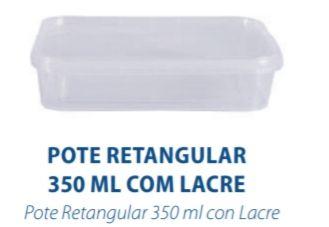 POTE RETANGULAR COM LACRE 350ML - FREEZER E MICROONDAS - com 10 unidades - PRAFESTA  - Santa Bella