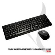 Combo Teclado + Mouse Office Eo501 Sem Fio Evolut