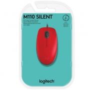 Mouse USB M110 Silent Vermelho Logitech
