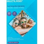 Papel Fotográfico Multilaser 200 (g/m²) A4 10 Folhas PE011