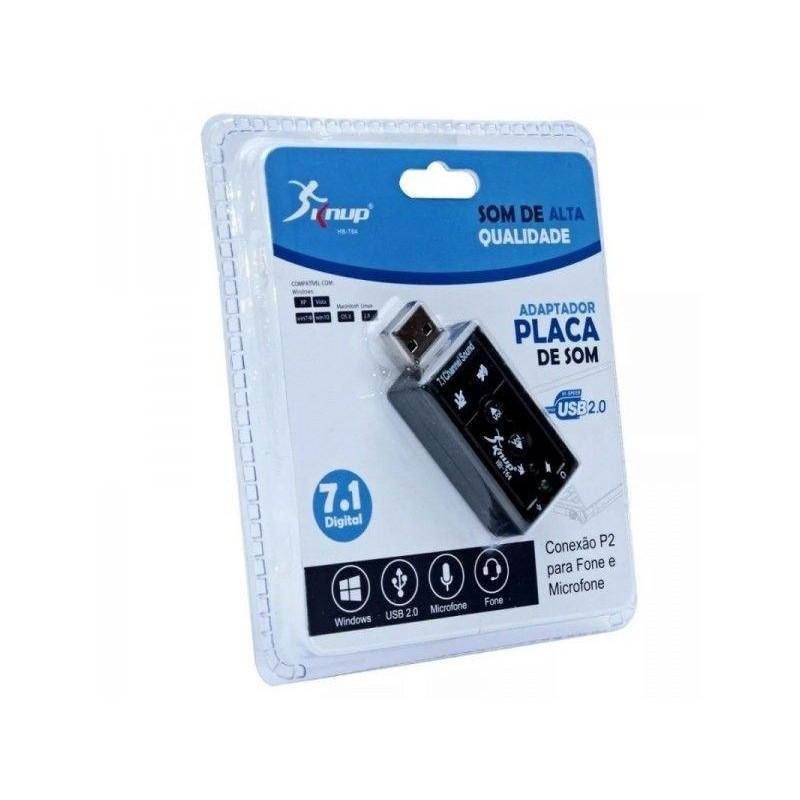 Adaptador de Placa de som 7.1 USB Knup HB-T64