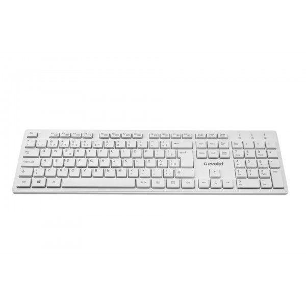 Combo Teclado e Mouse Evolut Wireless Office EO-502 Branco