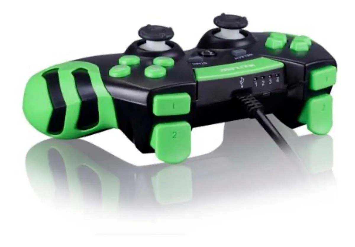Controle Gamer Ps3 e PC Preto e verde Multilaser JS091